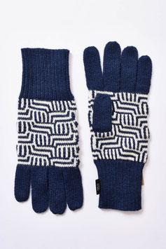 Blau-weiß gemusterte Fingerhandschuhe für Damen aus Alpaka Wolle