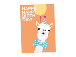 Coole Geburtags-Postkarte mit Alpaka - Happy Happy Birthday