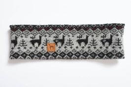 Gefüttertes Stirnband mit Alpaka-Jacquard-Muster in Grautönen