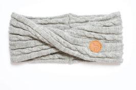 Sportlich elegantes Stirnband mit Twist und Zopfmuster aus 100 % weichem Alpaka