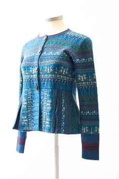 Kurze Strickjacke aus 100 % Baby-Alpaka mit Jacquard-Muster in blau