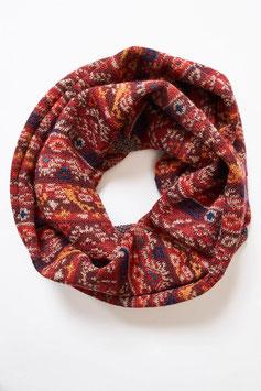 Loop aus Baby-Alpaka für Damen mit tollem roten Jaquard-Muster