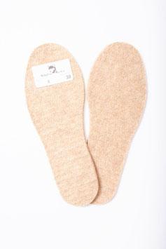 Schuheinlagen / Filzsohlen aus Alpaka-Woll-Filz mit Kork