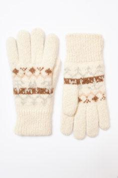 Warme Wende-Fingerhandschuhe aus 100 % Alpaka-Wolle, ungefärbt und naturbelassen