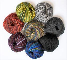 Sockenwolle mit Alpaka-Woll-Anteil für farbenfrohe Strümpfe