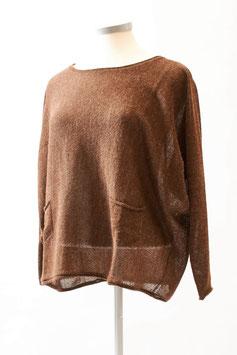 Weiter Alpaka-Damen-Pullover mit aufgesetzten Taschen und Fledermausärmeln