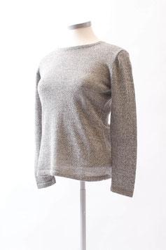 Grau-melierter Damen-Pullover aus 100 % Alpaka mit Rundhals-Ausschnitt