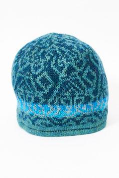 Bunte Alpaka-Jacquard-Mütze für Damen