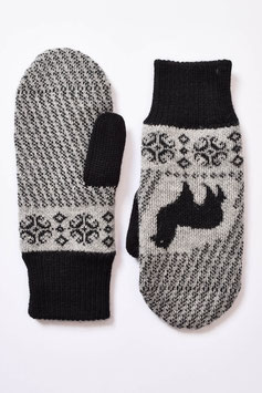 Gefütterte Fäustlinge / Faust-Handschuhe mit Alpaka-Muster