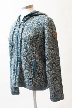 Warme Kapuzenjacke für Damen mit tollem Alpaka-Muster