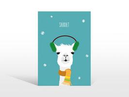 """Lustige Alpaka Winter-Postkarte """"SAUKALT"""""""