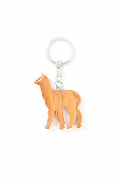 Alpaka Schlüsselanhänger aus Holz