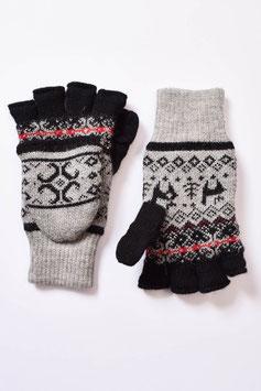 Gefütterte fingerlose Handschuhe mit Klappe und Alpaka-Jacquard-Muster für Damen