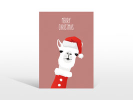 "Alpaka Weihnachts-Postkarte ""Merry Christmas"""