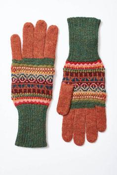 Damen-Finger-Handschuhe aus 100 % Babyalpaka mit buntem Jacquard-Muster