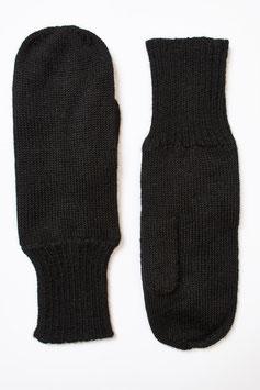 Gefütterte Alpaka-Fausthandschuhe, schwarz