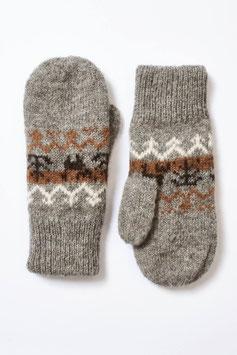 Sehr dicke rustikale Fausthandschuhe für Damen - Wendehandschuh aus ungefärbter Alpaka-Wolle