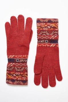 Rote Alpaka-Fingerhandschuhe für Damen mit Jacquard-Muster