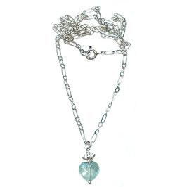 Silberkette crown drop Aquamarinherz
