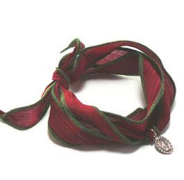 Wickelarmband dunkelrot-olivgrün / Madonnaanhänger