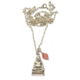 Silberkette Buddha versilbert & Steinblüte