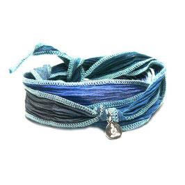 Wickelarmband jeansblau /  Buddha Anhänger
