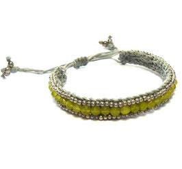 Macramé Flechtarmband grau / Perlen lindgrün