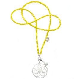 """opera Glasperlenkette limonen gelb / Mandala """"Sonne"""""""