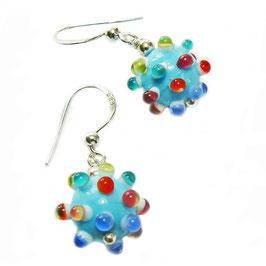 Ohrhänger colour dots / hellblau