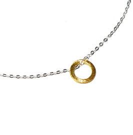 Silberkette kleiner Kreis vergoldet