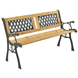 JU200578 Gartenbank aus lackiertem Holz und Gusseisen