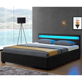 Polsterbett mit Bettkasten 140 x 200 cm schwarz - JU28962