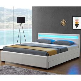 Polsterbett mit Bettkasten 140 x 200 cm weiß - JU28961