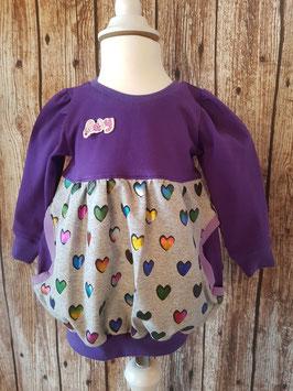 Ballon-Kleid Bunte Herzen Lila