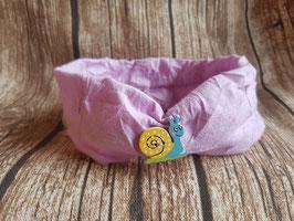 gerafftes Haarband rosa mit Schneckenknöpfchen