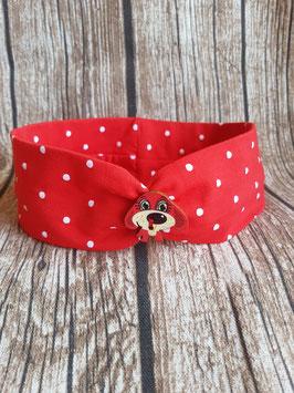 gerafftes Haarband Rot/Dots mit Hundeknöpfchen