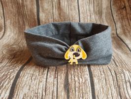 gerafftes Haarband grau mit Hundeknöpfchen
