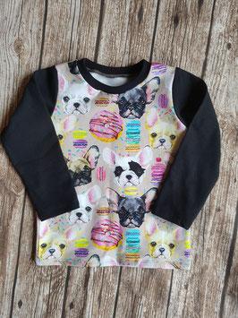 Baby Shirt mit langen Armen bunte Französische Bulldogge Schwarz