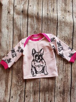 Baby Shirt mit langen Armen Französische Bulldogge Rosa