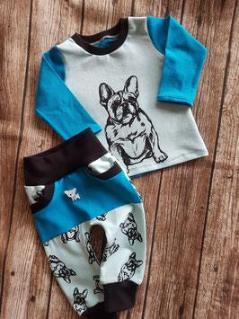 Cozy Pants und Basic-Shirt Französische Bulldogge Türkis