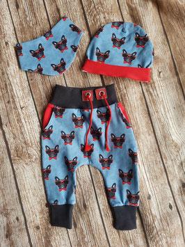 Baggy-Pants, Mütze & Halstuch One Size Französische Bulldogge Brille Rot