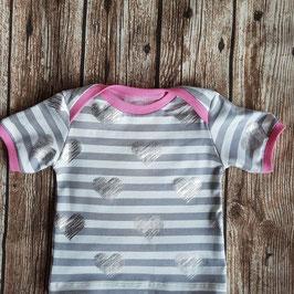 Baby Shirt Herzen Silber