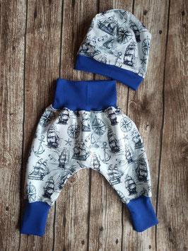Pumphose & Babymütze Segelschiffe Blau