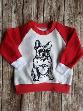 Raglan-Sweater Französische Bulldogge Rot