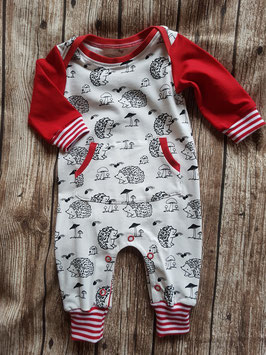 Retro Playsuit Igelfamilie Rot