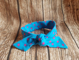 Knoten-Haarband Türkis/Sterne pink