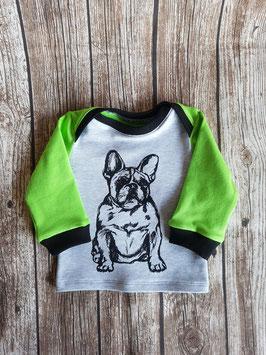 Baby Shirt mit langen Armen Französische Bulldogge Lime