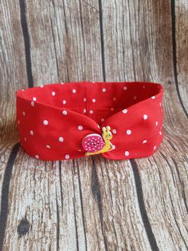 gerafftes Haarband Rot/dots mit Schneckenknöpfchen