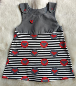Latzkleid Hearts and Stripes Rot