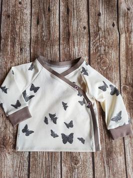 Wickelshirt Schmetterlinge Glitzer Ecru